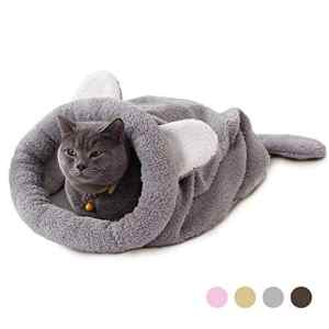Eono Essentials Chat Sac De Couchage en Molleton Doux Réchauffement De La Chaleur Lavable Lits De Chat Snuggle Sack Couverture De Tapis Kitty Sac Adapté Chat Chiot Gris
