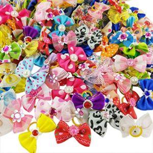 Hixixi Lot de 50 nœuds en Strass Multicolores avec Bandes en Caoutchouc pour Chat, Chiot