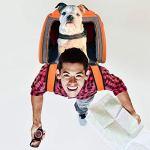 Legendog Sac de Transport pour Chien, Double épaule Sac à Dos Pliable Transporteur des Chiens Chats Lapins Animaux de Compagnie,Respirant Paniers de Transport avec Fenêtre ,8-10kg
