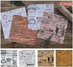 Tic-Tac 8 Feuilles Papier Vintage  Autocollant Papier Designer Décoration Scrapbook (Collage rétro)