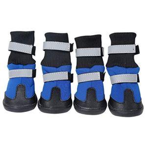 Bottes de protection pour chien, ensemble de 4 chaussures de chien imperméables pour chiens de taille moyenne et grande – (4 #) chaussures de protection pour animaux de plein air / protège-pattes