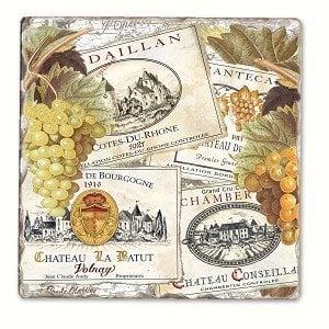 Wine Labels Single Tumbled Tile Coaster
