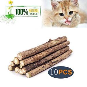 CNBC Lot de 10 bâtons d'herbe à Chat Naturel Matatabi Silvervine – pour Nettoyer Les Dents molaires – Jouet à mâcher pour Chaton
