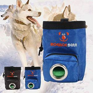 Robluee Sac d'alimentation Portable pour Animaux de Compagnie avec Sac à Ordures en Tissu Oxford 15×9.5×10.5cm