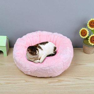 Segle Coussin de Couchage Rond en Peluche pour Animal Domestique Motif Donut Gris/Rose