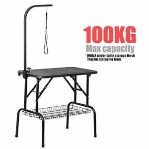 Tinkertonk professionnel 81,3cm pliable Table de toilettage W/Bras et bride et et plateau en maille filet, capacité maximale jusqu'à 100kg