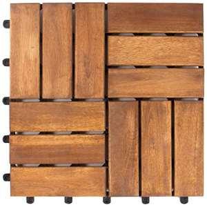 Vanage – Caillebotis en bois – Lot de 27 – Emboîtables et ultra simples à installer – Parfait pour terrasses et balcon – En bois d'acacia