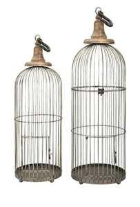 Benzara IMAX Lenore Cage à Oiseaux–Lot DE 2 1 Argenté