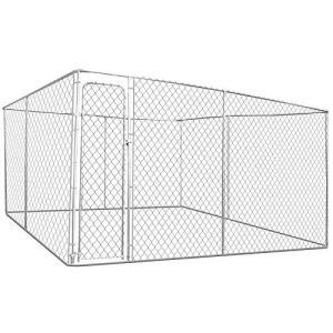 IDMarket – Chenil grillagé 4×4 m pour Chiens 16 m²