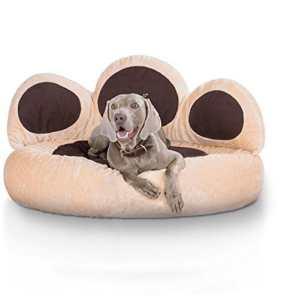 Knuffelwuff panier chien – lit pour chien – coussin – corbeille pour chien Luena – forme de patte – beige XXL 110cm