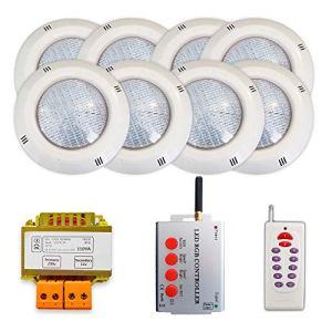 Pack 8 projecteurs LED RGB + Synchroniseur de télécommande + Transformateur de sécurité (8 projecteurs)