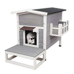 Petsfit Abris d'extérieur, maison/copropriété pour chats avec escalier 70cm x 44cm x 51cm résistant aux intempéries