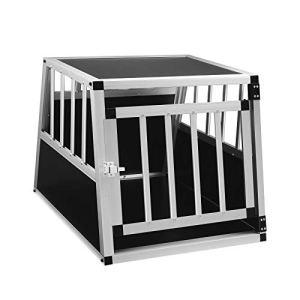 EUGAD Cage de Chien en Aluminium et MDF Caisse de Transport intérieur et extérieur pour Animal Chien,Noir,69x54x50cm,0001LL