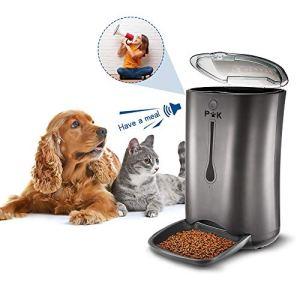 PUPPY KITTY 6.5L Distributeur de Croquettes pour Chats et Chiens Distributeur Automatique de Nourriture Enregistrement Vocal Programmable 4 Repas par Jour Noir