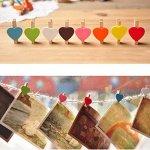 Runfon Mini Sweet Love en Bois en Forme de cœur Clips Photo Message Support Carte Piquets de Papier décor Photographie Couleur aléatoire (20pcs) Décoration de la Maison