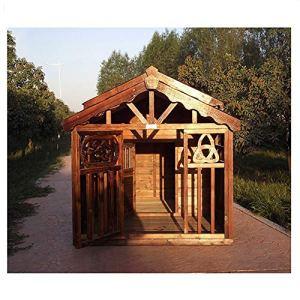 SDYSTRORE Maison pour Chien en Bois carbonisé, Maison en Bois pour Chien de Taille Moyenne et Grande, nichoir pour Chien pour Une Maison chaleureuse, Taille M : 130 x 180 x 120 cm