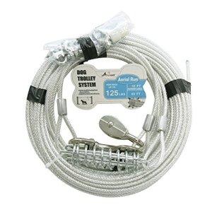 Petest Chariot DE 18,3m Câble de Fibre Lourds pour Chiens jusqu'à 56,7Kilogram, 125lbs60ft&10ft, Noir et Argenté