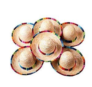 Floratek Lot de 6 Mini Chapeaux mexicains en Paille tissée 15,2 cm Mini Chapeaux Sombrero pour décoration de fête pour Enfants Animaux Chiens Chats