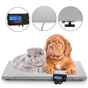InLoveArts Balance vétérinaire pour Animaux domestiques et Animaux de Taille Petite à Moyenne 220 kg Balance Digitale pour Animaux de Compagnie avec Plateforme en Acier Inoxydable (110 x 55 cm)