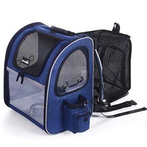 Pecute Sac Dos pour Chien, Sac de Transport Chat Chien Animaux Extensible Transparent Pliable Respirant Paniers de Transport avec Fenêtre en Maille Filet (Bleu)