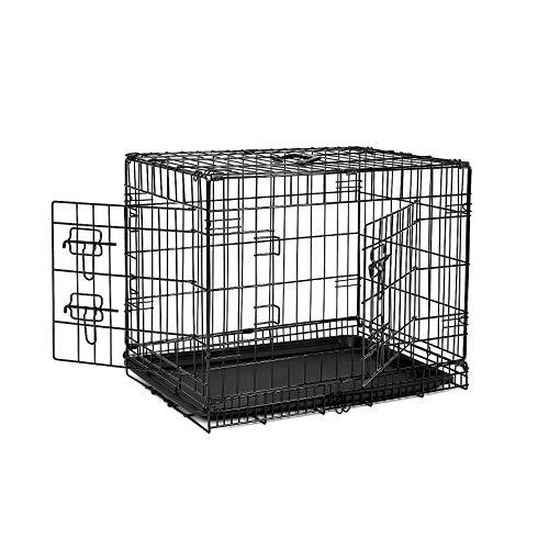 dibea 2 Portes Cage pour Chien Pliable et transportable avec Poignées et Plateau (M)