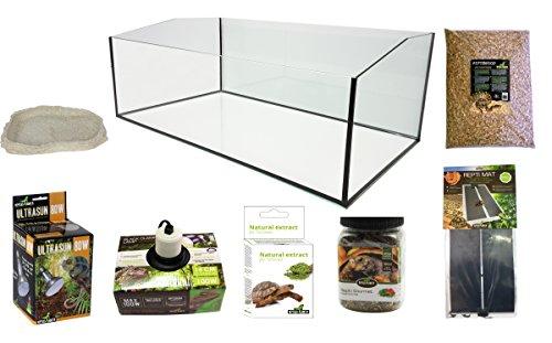 REPTILES PLANET Kit Terrarium Complet avec Bac Ouvert pour Tortue Terrestre 80 x 45 x 30 cm
