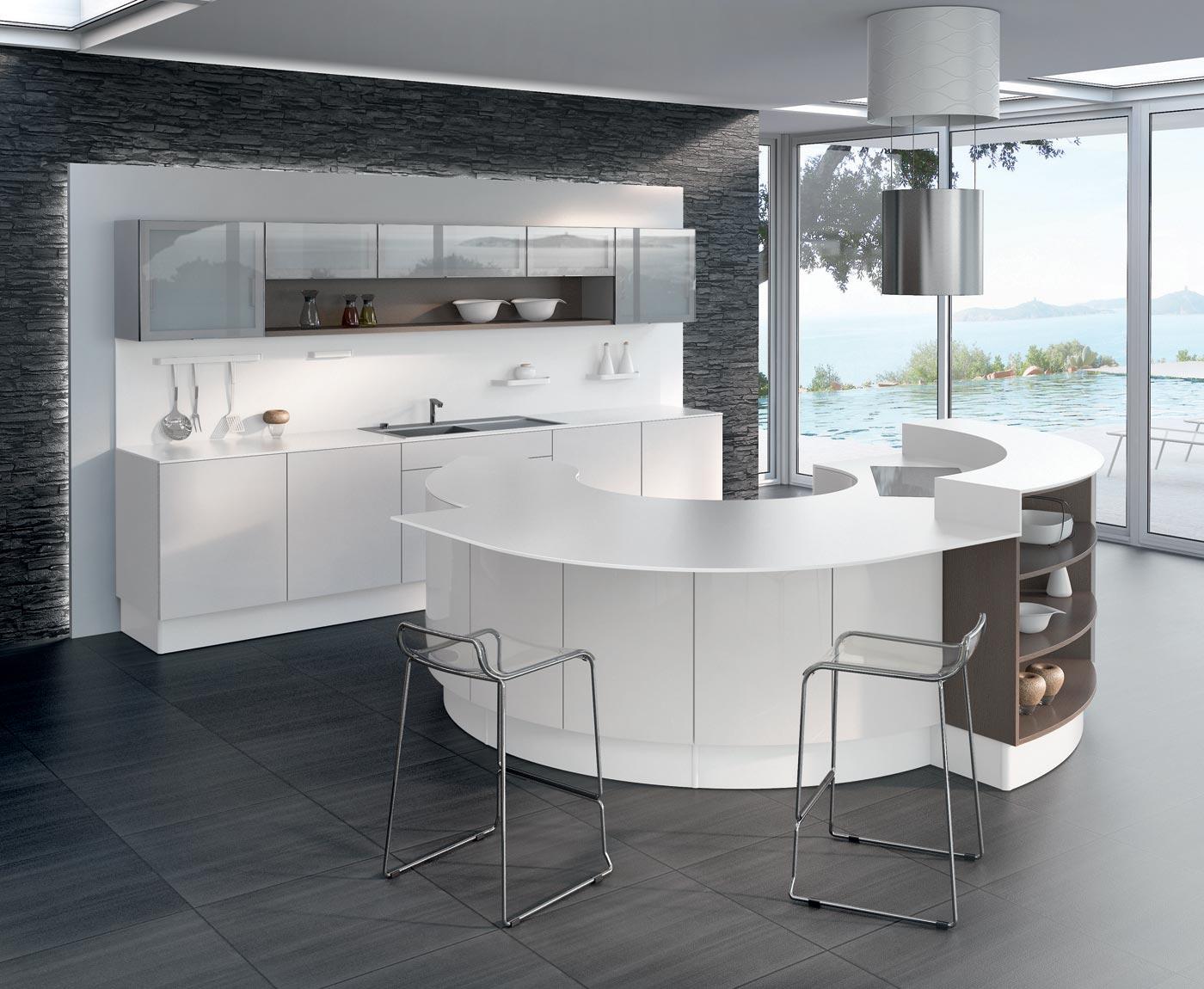 Cuisine L500 Equinoxe laqu Blanc brillant  M100H mlamin Angelim brun structur Perene Lyon