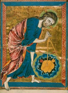 God is bending over the Earth, measuring it with a compass. God the Geometer. Illumination on parchment. Circa 1220-1230.
