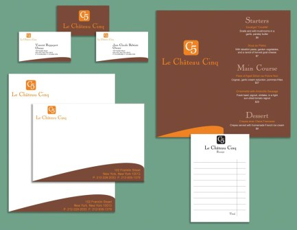 Chateau Cinq Restaurant | graphic design westchester ny