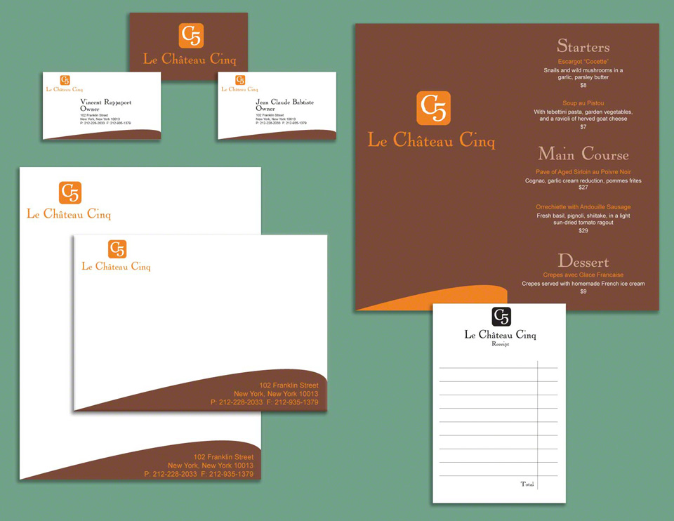 Westchester ny graphic design print design fausteffects chateau cinq restaurant graphic design westchester ny chateau cinq restaurant graphic design westchester ny menu stationery business cards for reheart Choice Image