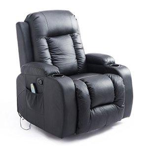 Fauteuil de Massage Electrique Chauffant Vibrant 14.4W Inclinable avec Porte-Gobelet Télécommande PU Noir Neuf 50BK