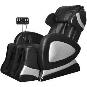 vidaXL Fauteuil de massage massant inclinable en cuir artificiel noir avec super écran