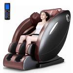 CSPFAIRY Fauteuil de Massage 8D Multifonctionnel Canapé électrique avec Massage par La Chaleur Et LCD Télécommande Intelligente, Gravité Zéro – Noir/Marron,Black-Brown