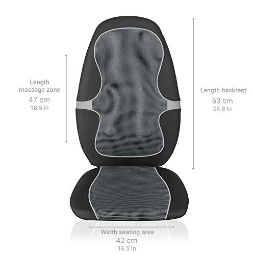 Medisana MC 815 Housse de siège de massage Shiatsu, coussin de massage à vibrations, 4 têtes de massage rotatives, 3 niveaux d'intensité, avec télécommande pour tout le dos