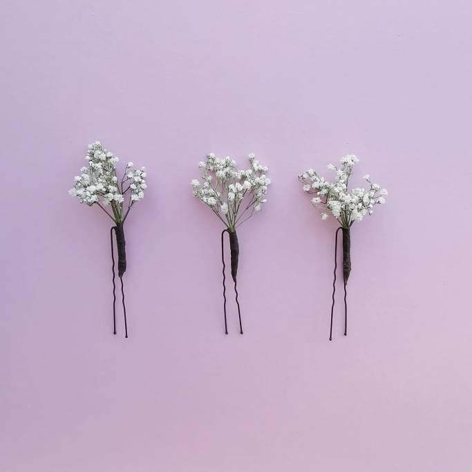 dried gypsophilia flower hair pins