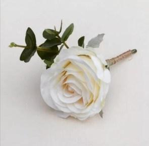 ivory silk rose buttonhole eucalyptus