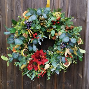 luxury faux Christmas wreath dried fruit pine cones