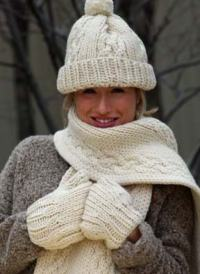 Cable Hat, Scarf and Mittens | FaveCrafts.com