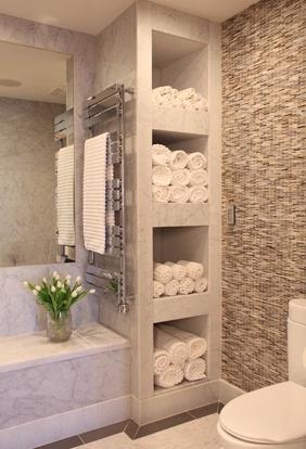 Bathroom with shelves for towels  feels like a spa  FaveThingcom