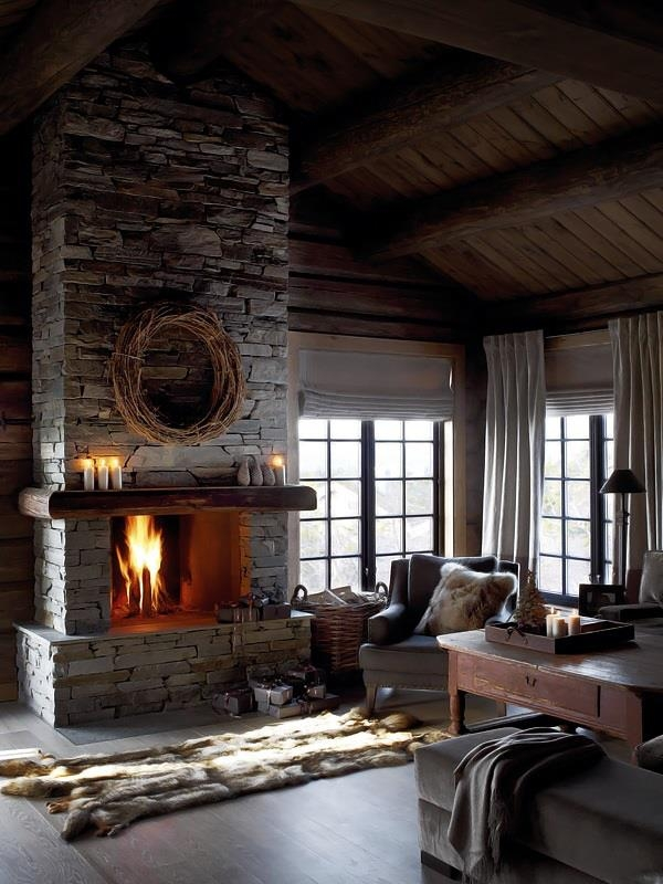 Dry stacked stone fireplace  FaveThingcom
