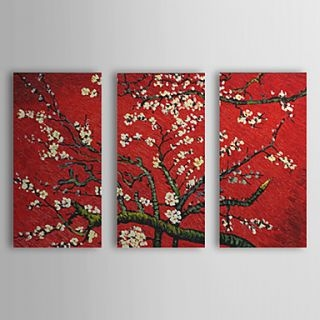 Floral Plum Bloom Oil Painting Set Of 3 Free Shipping