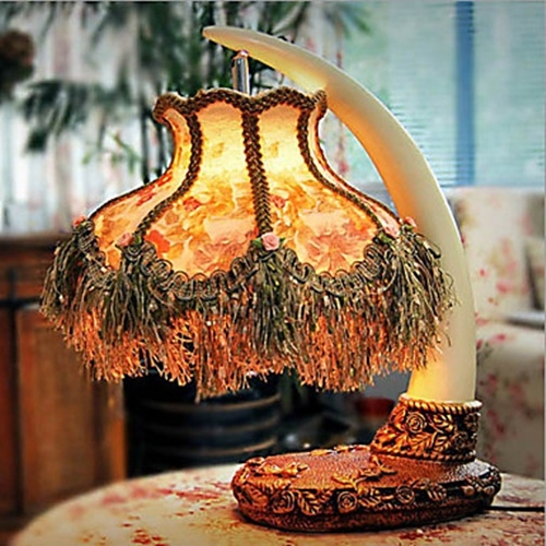 Nature Inspired Table Lamp Ivory Fashion Resin Body Fabric
