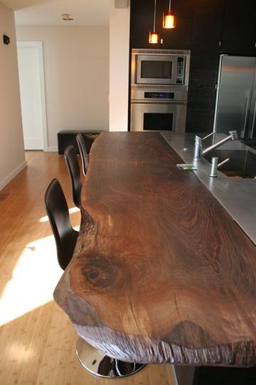 Reclaimed wood plank breakfast bar counter  FaveThingcom