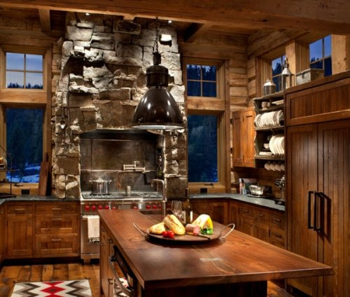 Rustic kitchen with modern amenities  FaveThingcom