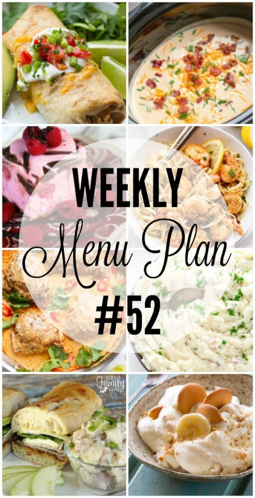 Weekly Menu Plan 52