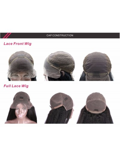 Yaki Lace Front Human Hair Wigs For Black Women With Baby Hair