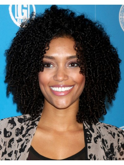 Shoulder Length Natural Black Curly Hairstyle Wig Afro Wigs Sale