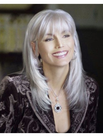 Synthetic Hair Layered Grey Wig For Older Women Cheap