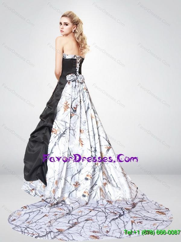 2015 Spring Exquisite A Line Lace Up Camo Wedding Dresses