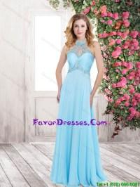 Wonderful Beading Baby Blue Long Prom Dresses for 2016